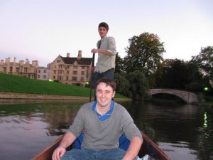 Zachary McCune punting at Cambridge